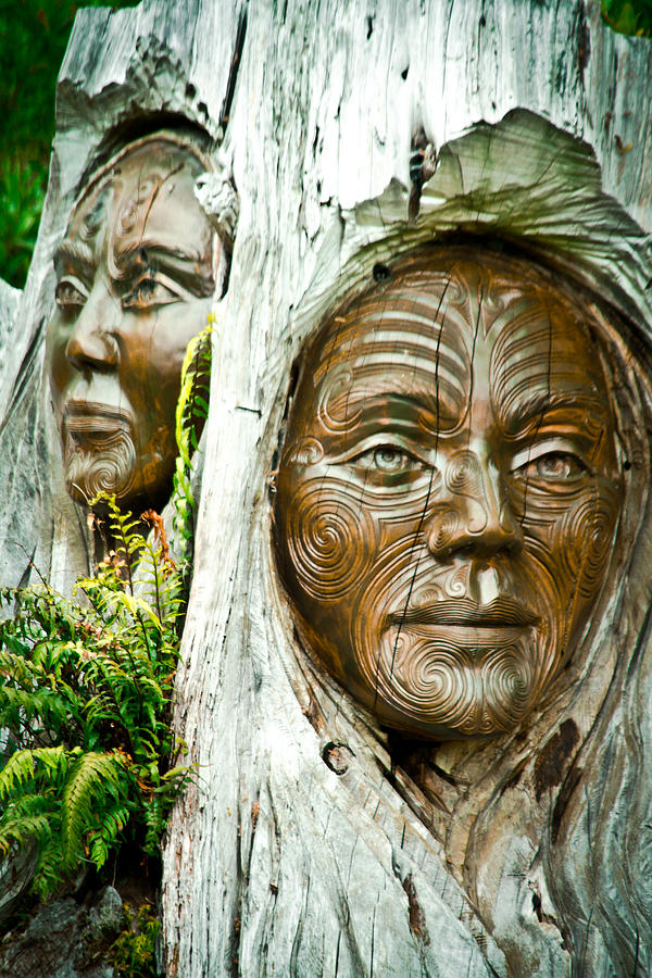 Wood Carving Photograph - Abel Tasman Wood Faces by Jonathan Hansen