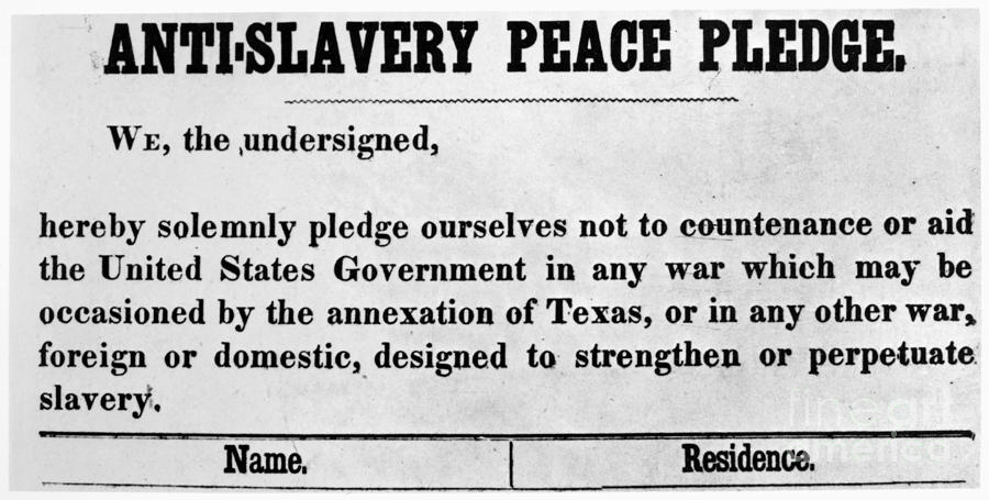 1845 Photograph - Abolitionist Peace Pledge by Granger