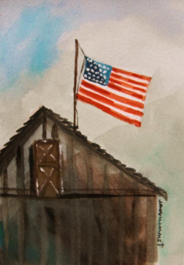 American Flag Painting - Above All by John Williams