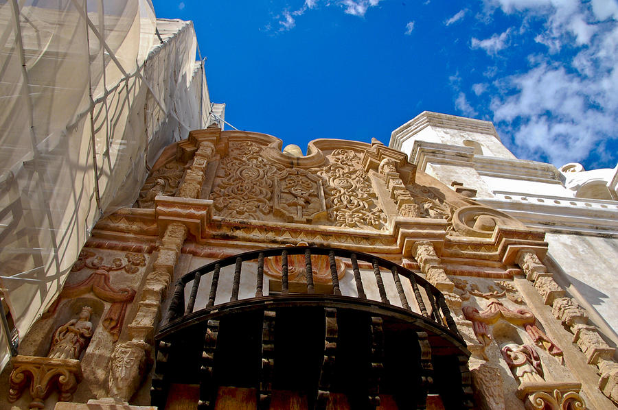 San Xavier De Bac Mission Photograph - Above The Front Entry San Xavier Mission by Jon Berghoff