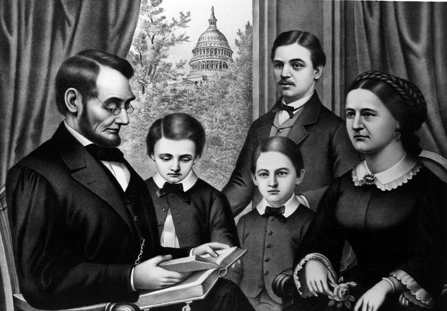 Abraham Lincoln And Family As Depicted Photograph By Everett