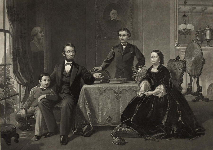 Abraham Lincoln Photograph - Abraham Lincoln And Family by International  Images