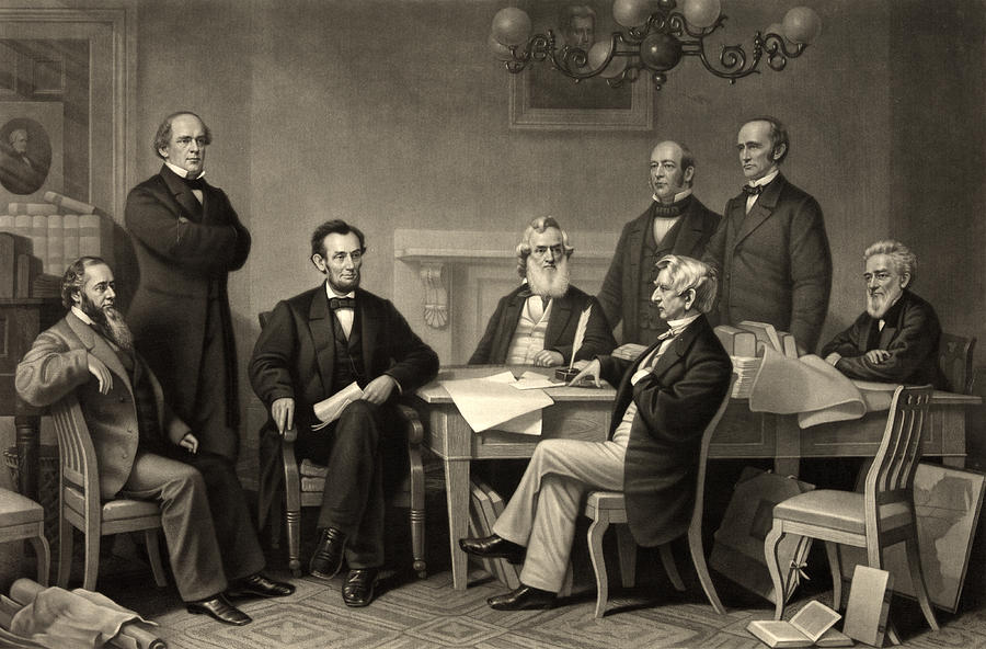 Emancipation Proclamation Photograph - Abraham Lincoln At The First Reading Of The Emancipation Proclamation - July 22 1862 by International  Images