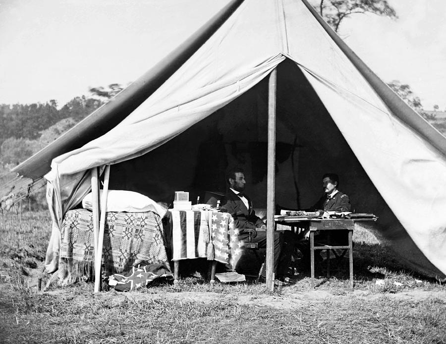 Abraham Lincoln Photograph - Abraham Lincoln Meeting With General Mcclellan - Antietam - October 3 1862 by International  Images