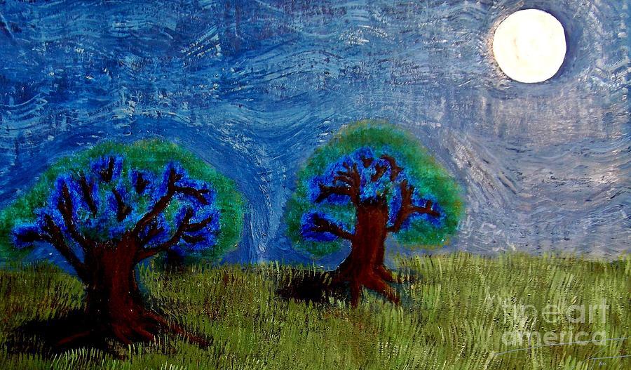 Trees Painting - Abres De La Lune by Ayasha Loya