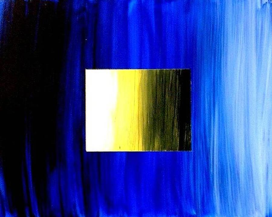 Abstract Painting - Abstract 3d Golden Blue  Square by Teo Alfonso