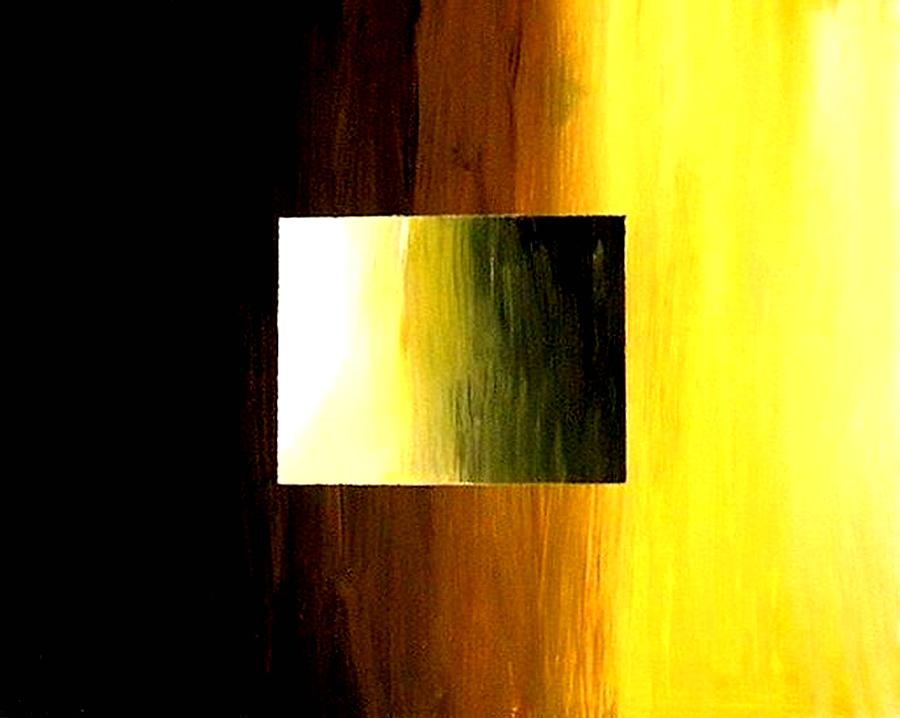 Abstract Painting - Abstract 3d Golden Square by Teo Alfonso