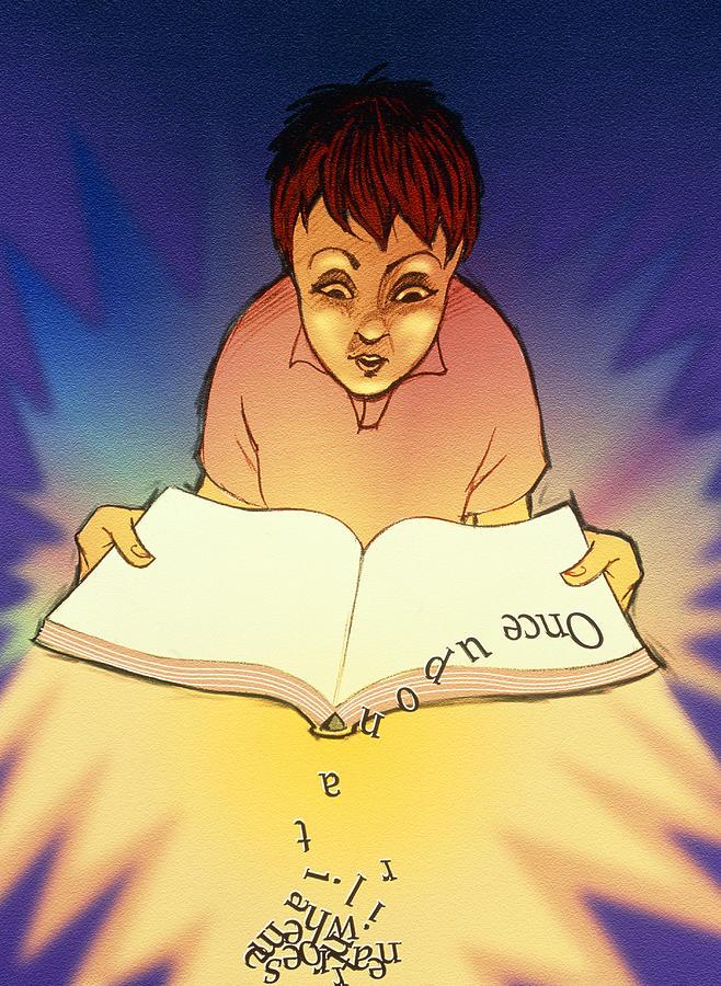 Dyslexia Photograph - Abstract Artwork Of A Dyslexic Boy Reading A Book by David Gifford