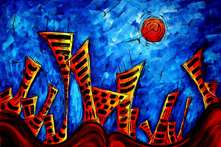 Abstract Cityscape Art Original City Painting The Lost ...