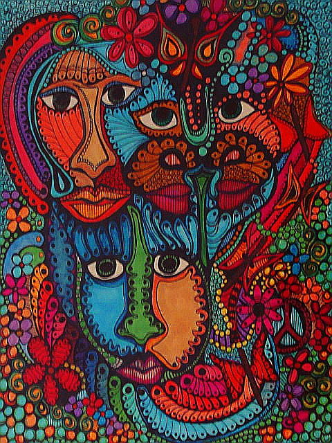 Abstract Colors Of The Mind Drawing By Gerri Rowan