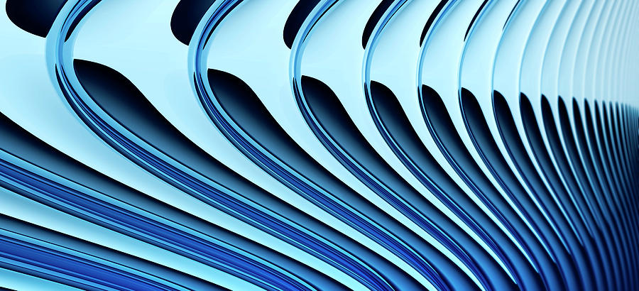 Horizontal Digital Art - Abstract Curved Lines, Diminishing Perspective by Ralf Hiemisch