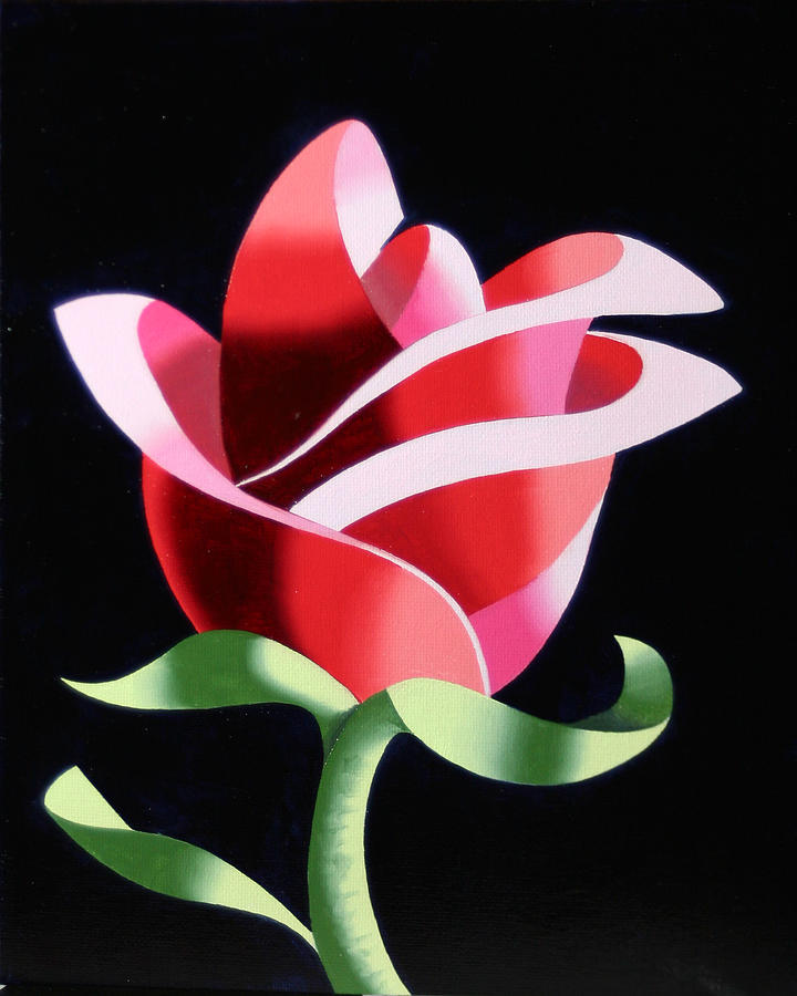 Abstract Painting - Abstract Geometric Cubist Rose Oil Painting 2 by Mark Webster