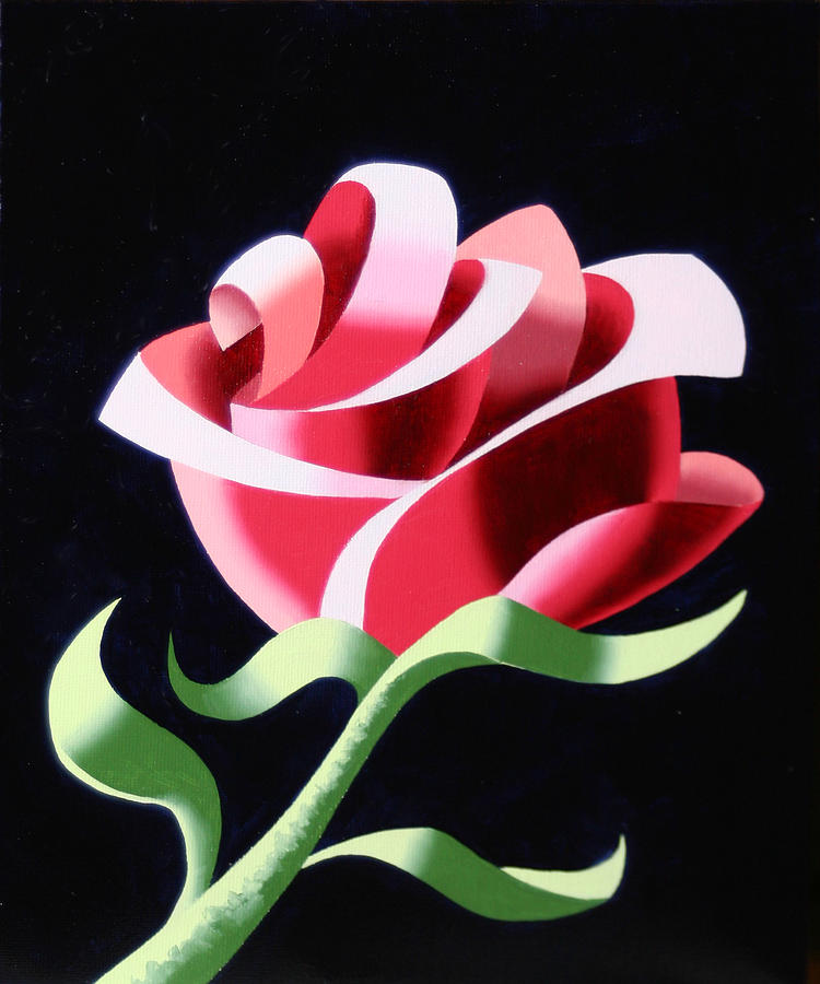 Abstract Painting - Abstract Geometric Cubist Rose Oil Painting 3 by Mark Webster
