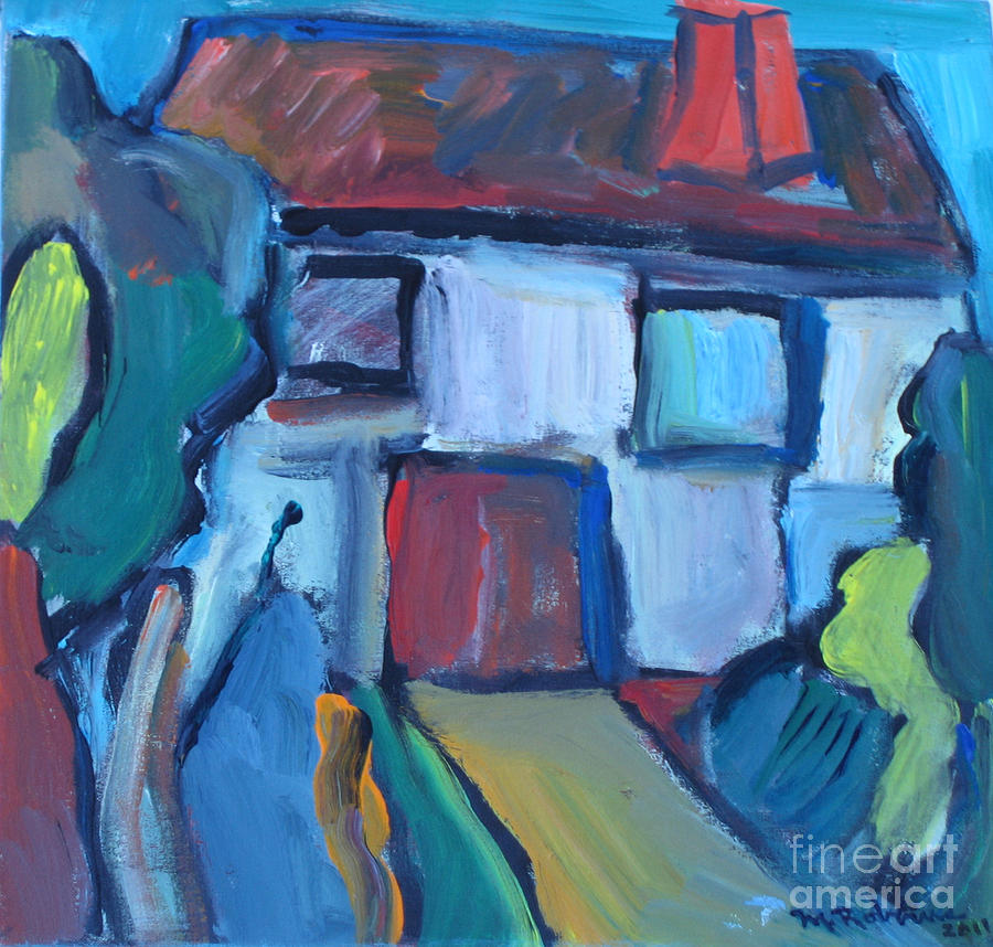 House Painting - Abstract House by Marlene Robbins