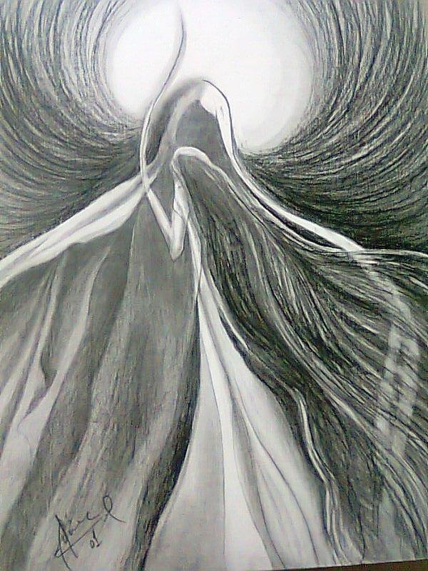 The light drawing abstract in pencil by hina fawad