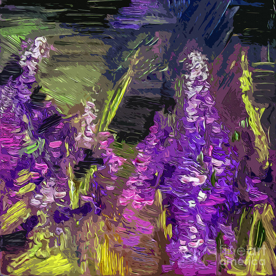 Abstract Painting - Abstract Lupines Decorative Art By Ginette by Ginette Callaway