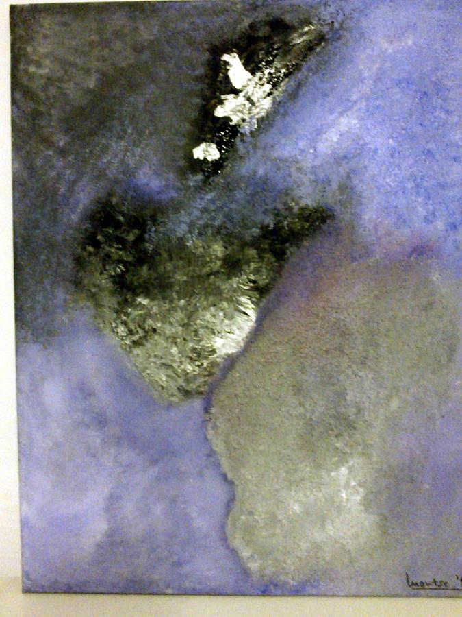 Purple Painting - Abstract by Montserrat Lopez Ortiz