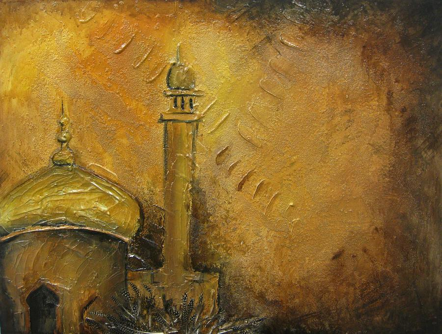 Abstract Painting - Abstract Mosque by Salwa  Najm