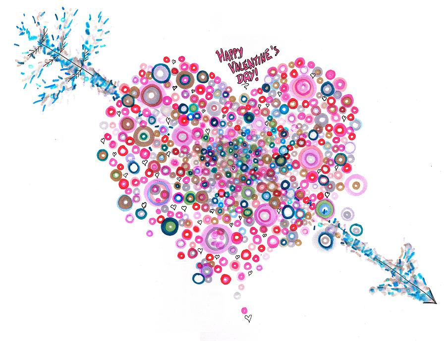 Valentine Drawing - Abstract Pattern Valentine by Regina Valluzzi