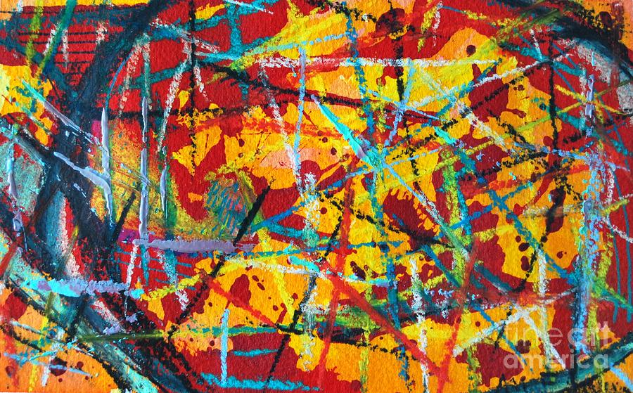 Abstract Painting - Abstract Pizza 1 by Ana Maria Edulescu