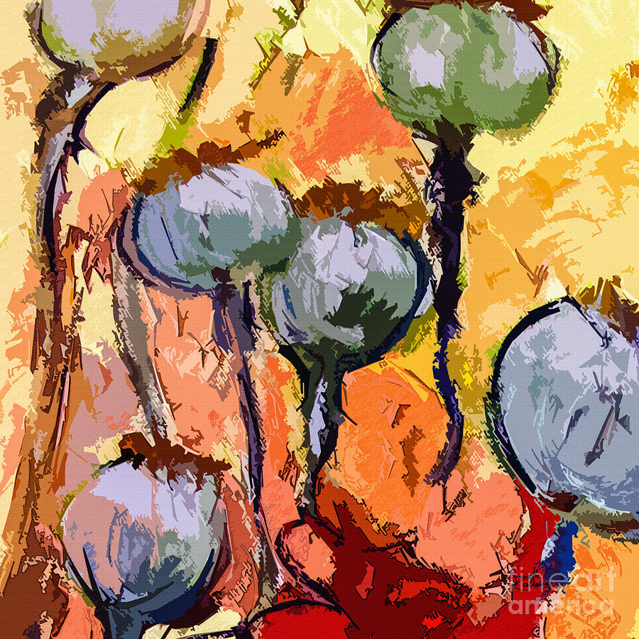 Abstract Painting - Abstract Poppy Pods Square Format by Ginette Callaway