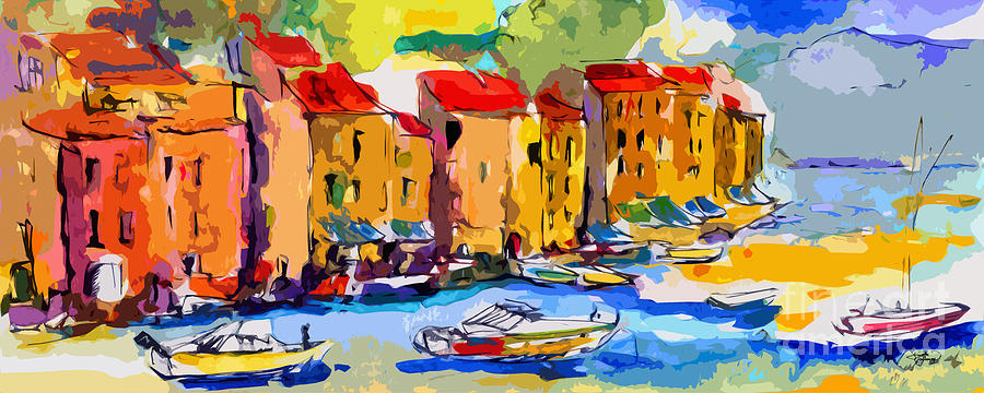 Abstract Painting - Abstract Portofino Italy And Boats by Ginette Callaway