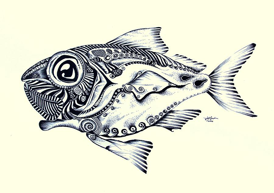 Abstract Redfish Painting By J Vincent Scarpace