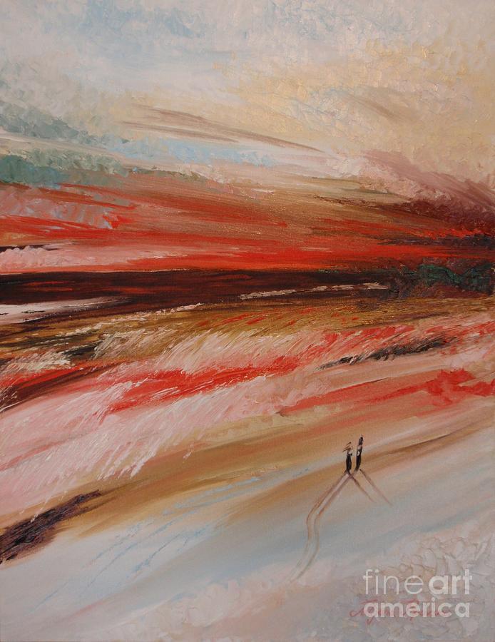 Oil Painting Painting - Abstract Sunset II by Tatjana Popovska