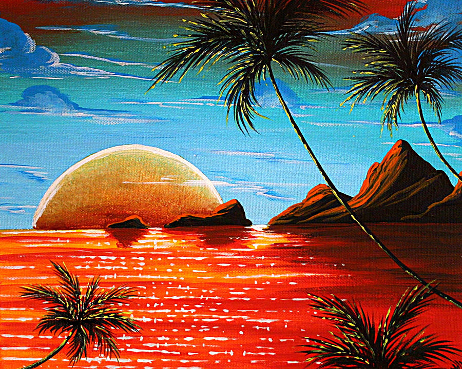 abstract surreal tropical coastal art original painting tropical