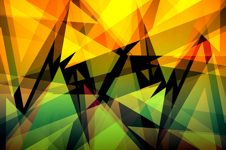 Abstract Digital Art - Abstract Triangle Colorful Background by Nattapon Wongwean