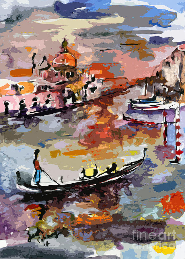 Italy Painting - Abstract Venice Italy Gondolas by Ginette Callaway