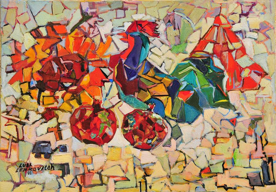 Abstract Painting - Abstract With Rooster by Liubov Meshulam Lemkovitch