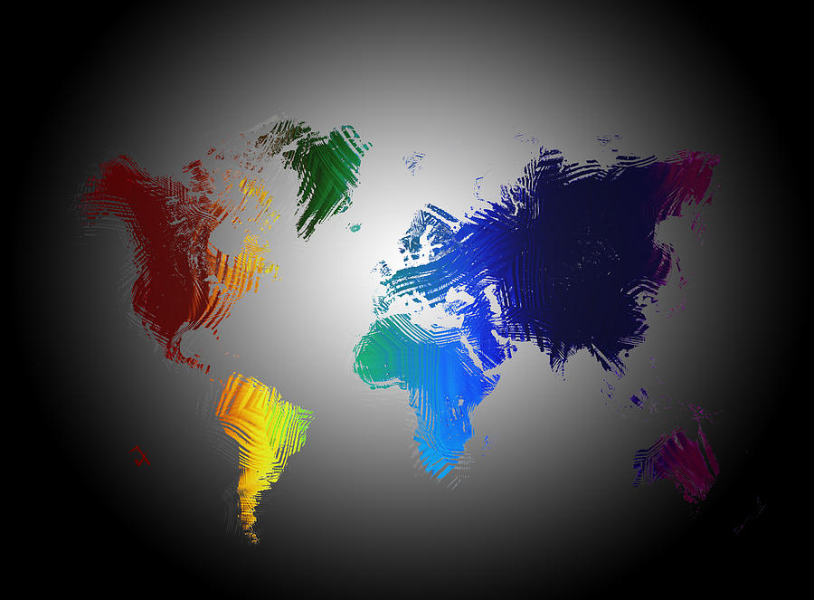 Abstract World Map Painting By Adam Vance
