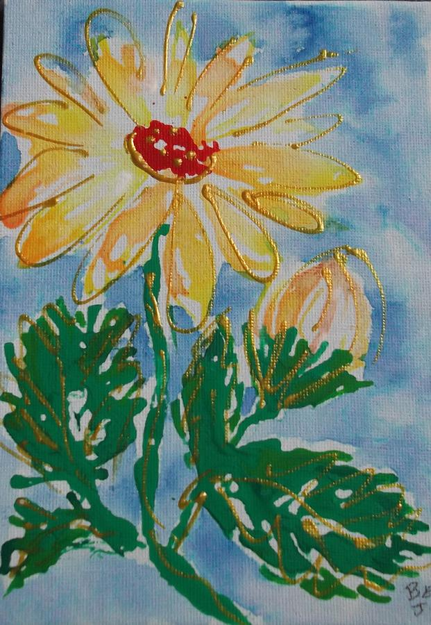 Abstract Painting - Abstract Yellow Daisy by Jan Soper