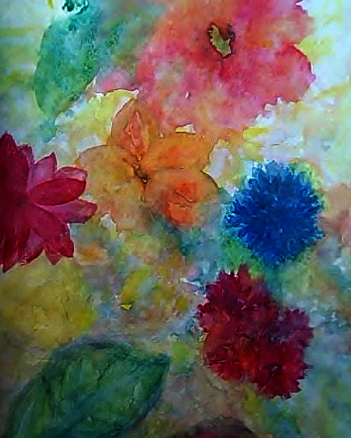 Flower Abstract Painting - Abstracted Garden 1 by AnneLise McCoy