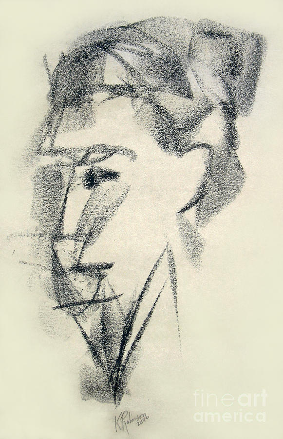 Face Drawing - Abstracted by Karen A Robinson
