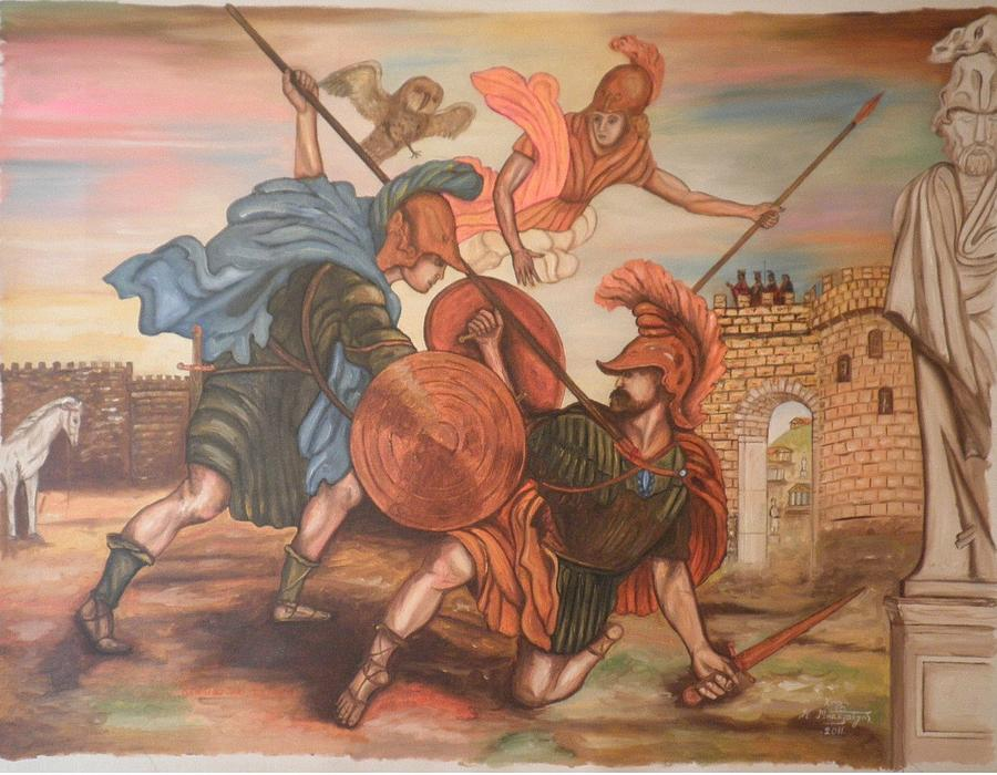 Trojan War Painting - Achilles And Hector by Konstantinos Baklatzis