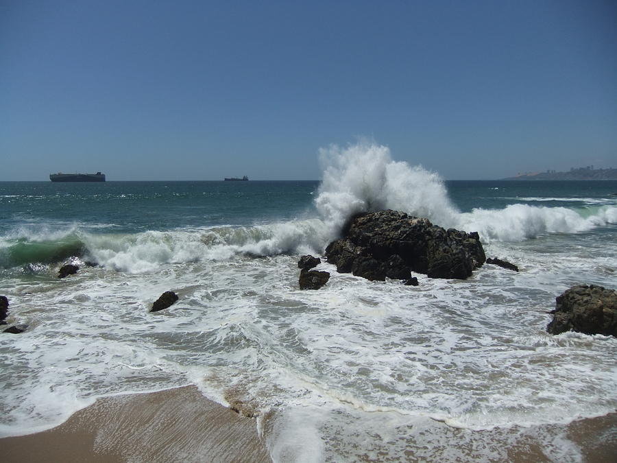 Ocean Photograph - Action On The Rocks by Rose Szautner