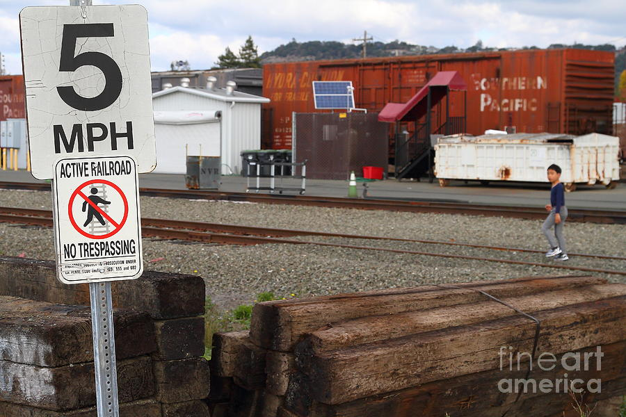 Transportation Photograph - Active Railroad . No Tresspassing by Wingsdomain Art and Photography