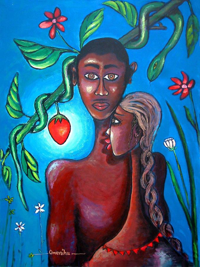 Narrative Painting - Adam And Eve by Omenihu Amachi