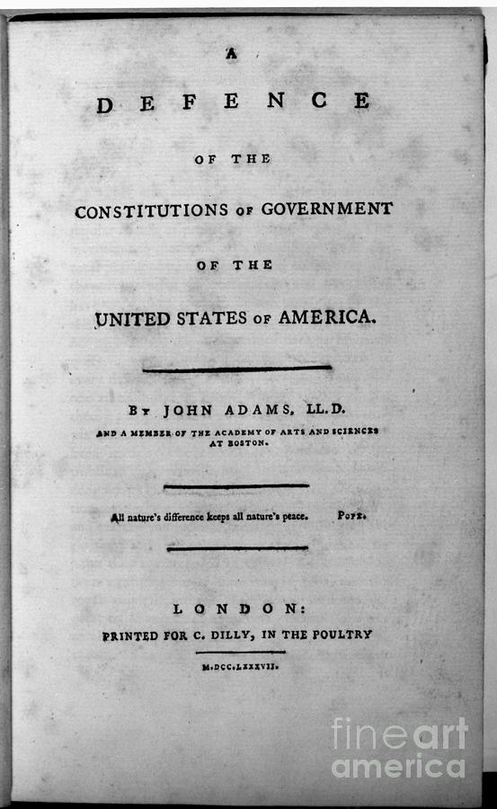 1787 Photograph - Adams: Title Page, 1787 by Granger