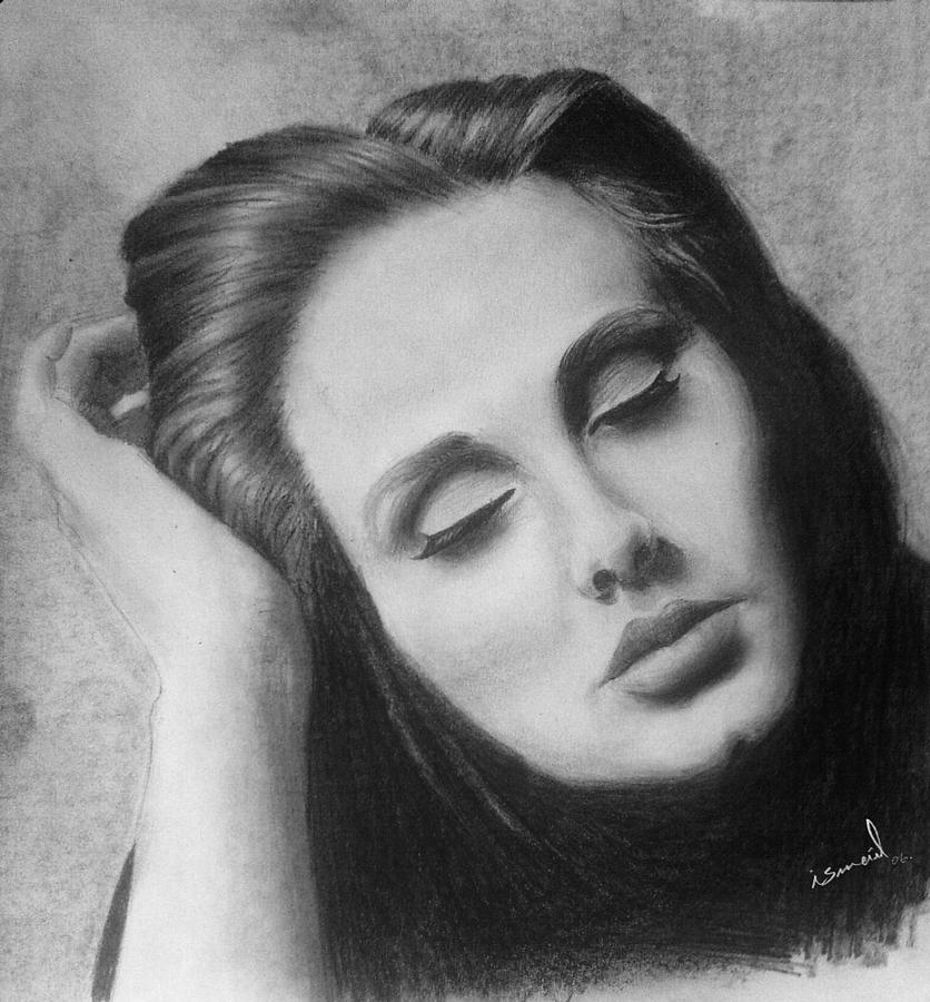 Adele Drawing by Ismail Bentaallah