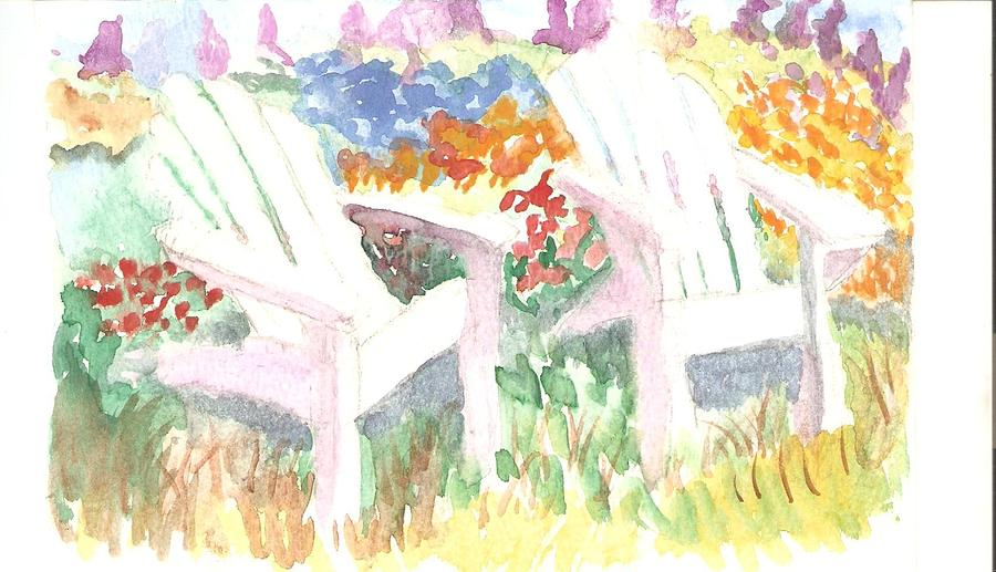 Adirack Chairs  In Garden Painting - Adirack Chairs In The Garden  by Thelma Harcum