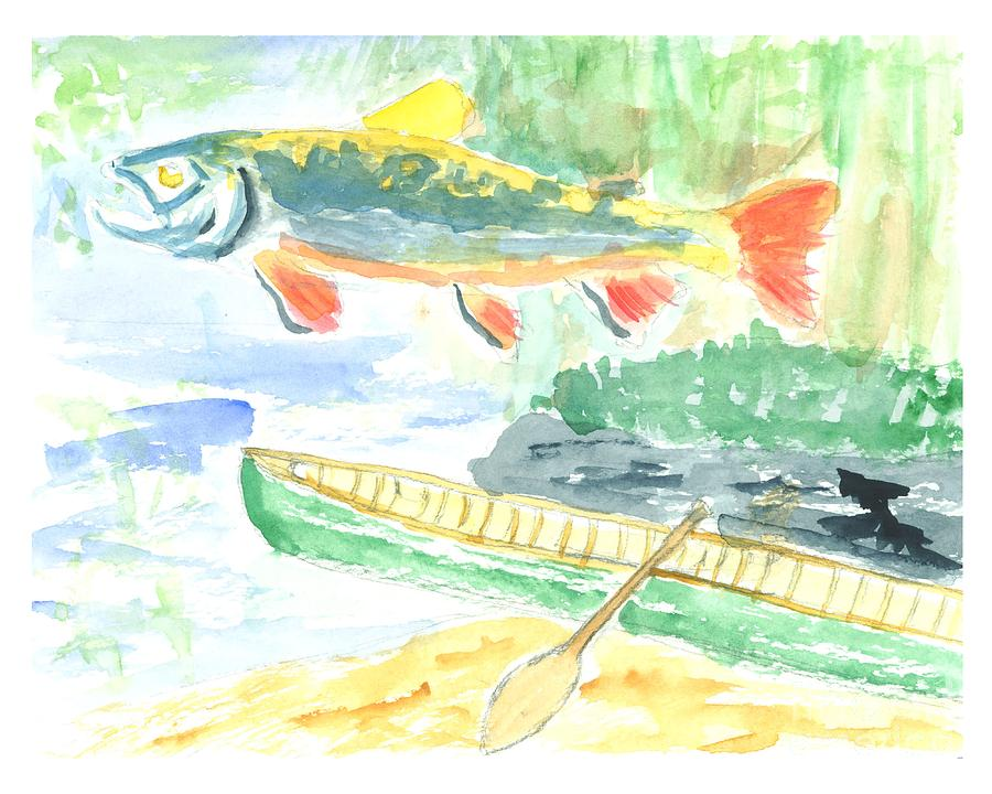 Trout Painting - Adirondack Dreaming by David Crowell