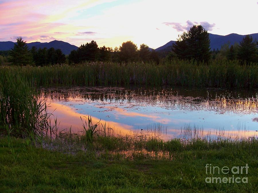 Sunset Photograph - Adirondack Reflection 1 by Peggy Miller