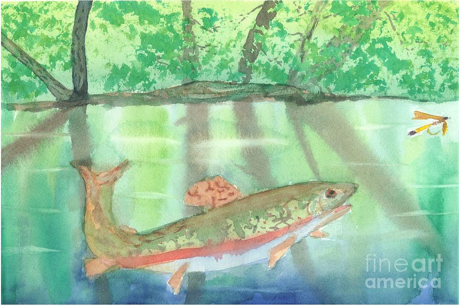 Flyfishing Painting - Adirondack Reflections by David Crowell