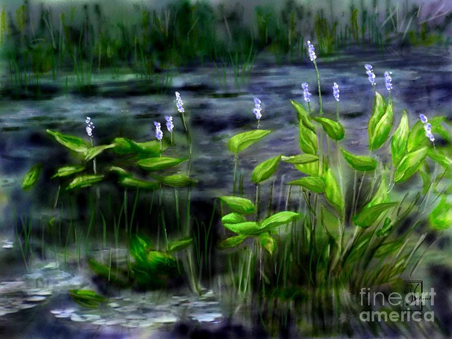 Natural Wetlands Painting - Adirondacks Natural Wetlands Pickeral Plant by Judy Filarecki