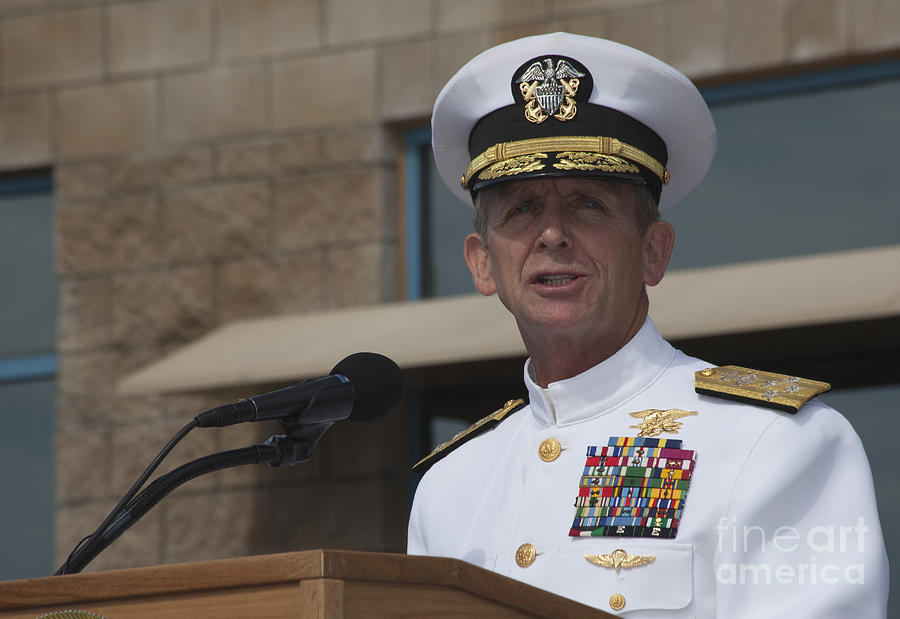 Military Photograph - Admiral Eric Olson Speaks by Michael Wood