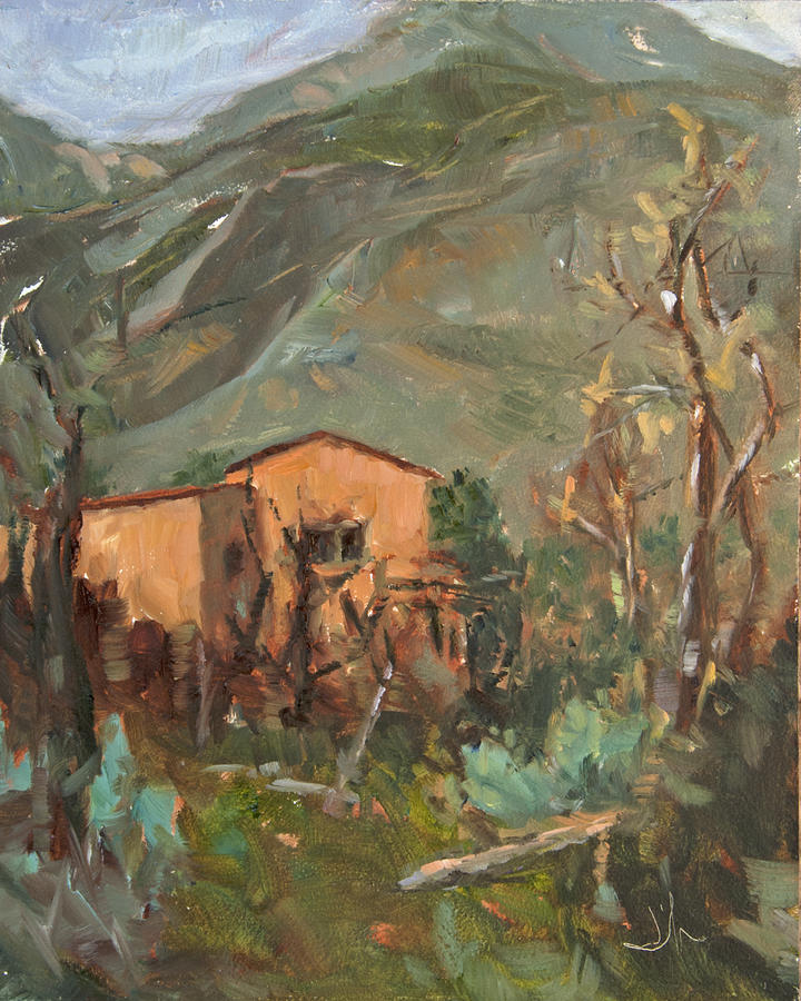 Landscape Painting - Adobe And Taos Mountains by Jennifer Riefenberg