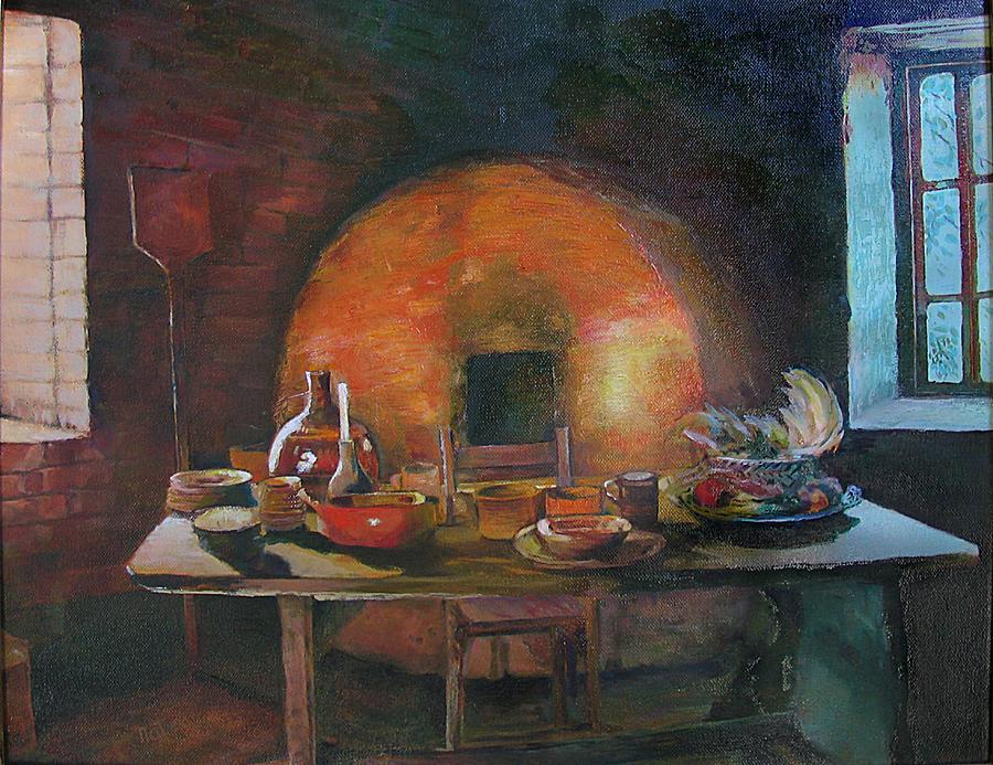Adobe Painting - Adobe Oven House by Natalya Shvetsky